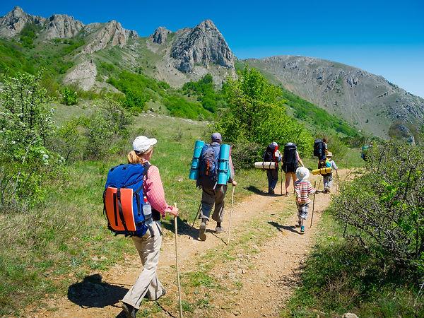 Hikers group trekking in Crimea mountain