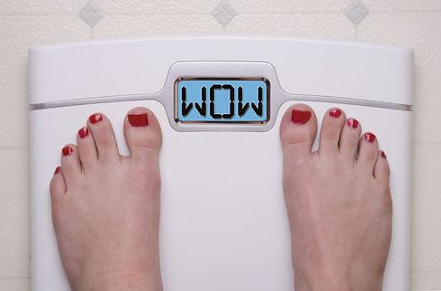 Digital Bathroom Scale Displaying WOW Me