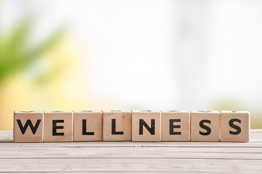 Letters spelling out wellness