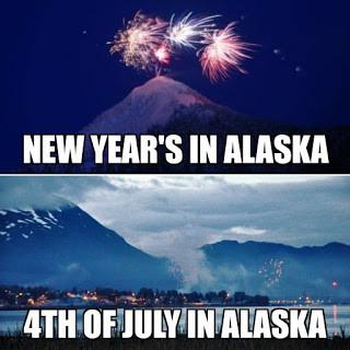 New Year's in Alaska and 4th of July in Alaska meme via @907memes on Facebook