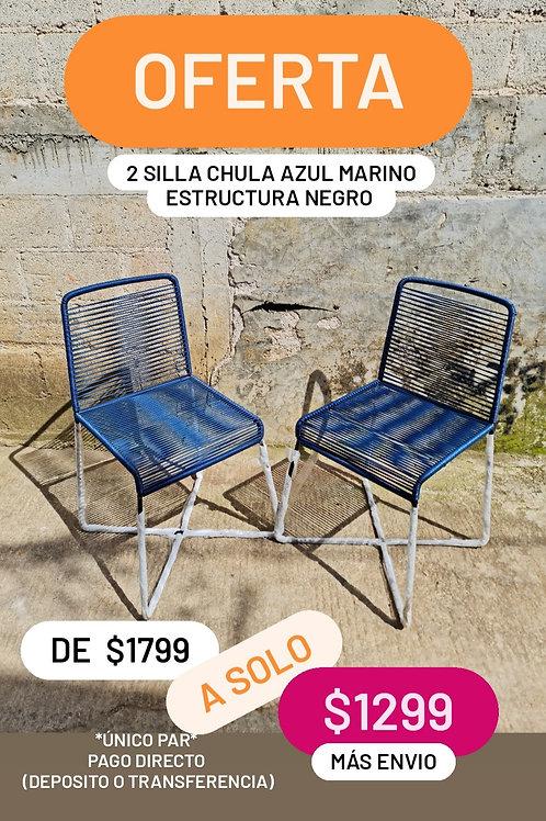 PROMOCION 2 SILLA CHULA AZUL MARINO