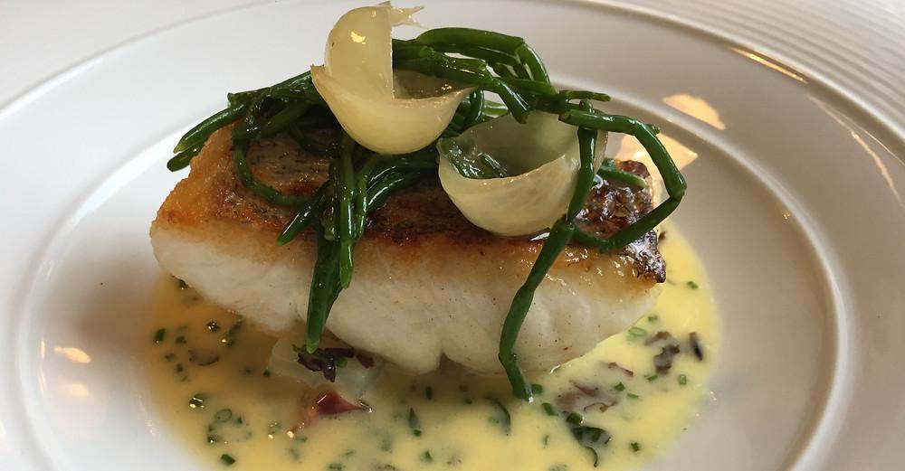 fish dish in a fish restaurant in torquay