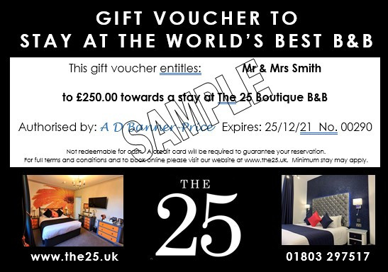 Buy a gift voucher for a stay at The 25 Boutique B&B