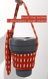 Cotton Cup holder with detachable straw sleeve for Stojo Biggie
