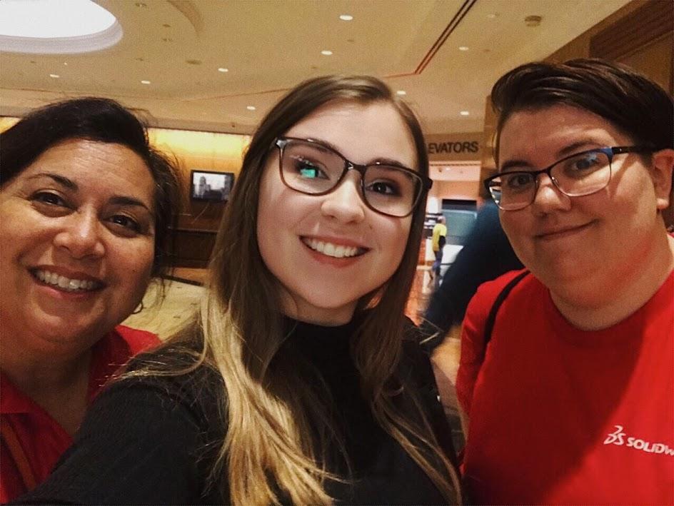 With SOLIDWORKS. Left to right: Sara Junghans, Danielle Boyer, Sara Zuckerman
