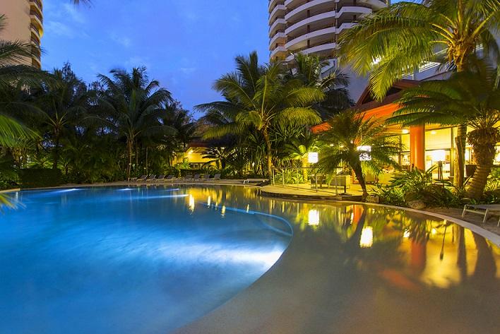 Swimming pool at night, Ramada Hotel