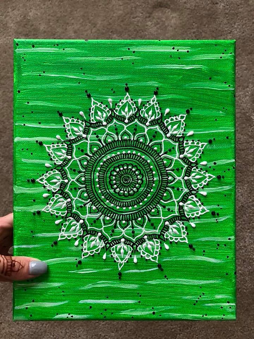 Black, White & Green Mandala