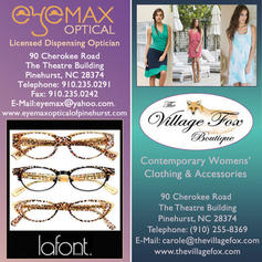 Combo ad for The Village Fox and Eyemax Optical