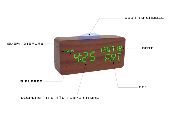 Wood Style Digital Clock Features.png