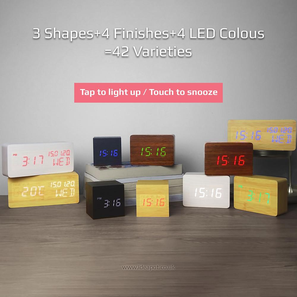 Wood Style Digital Clock with 42 Varieties