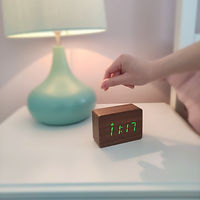 Wood Style Digital Clock Click To Light