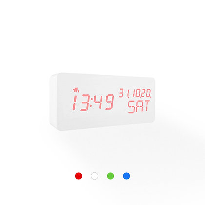 Wood Style Digital Clock WD69-3 White Finish