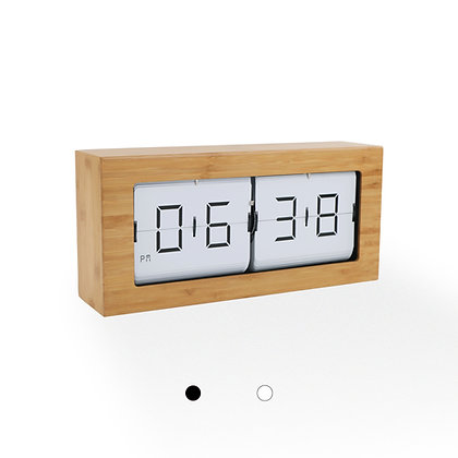 Large Framed Flip Clock (Bamboo Finish)