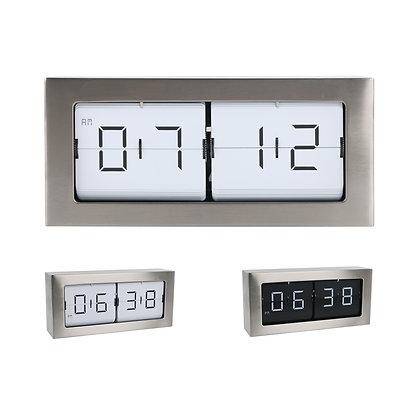 Large Framed Flip Clock (Silver)