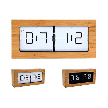 Large Framed Flip Clock (Bamboo)