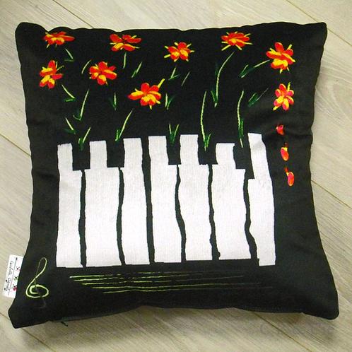 Coussin de décoration FLOWER PIANO en velours Noir