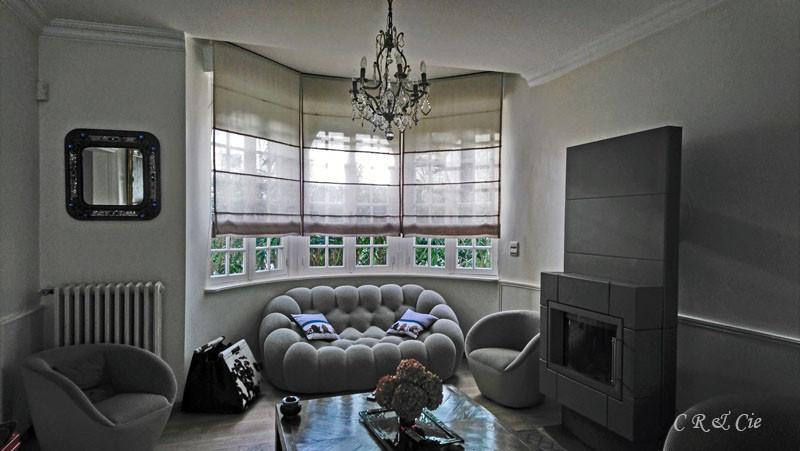 Stores bi-texturés toile de lin/voile de lin sur bow-window
