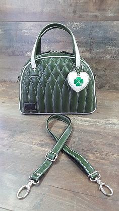 SkinAss Irish BIG BOSS cuir vert / green leather handbag