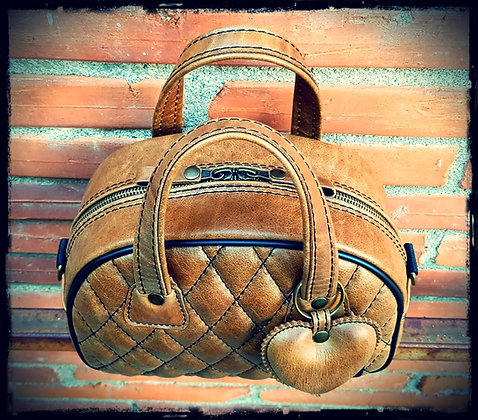 Sac SkinAss mini miss en cuir caramel vintage / toffee leather minimiss bag
