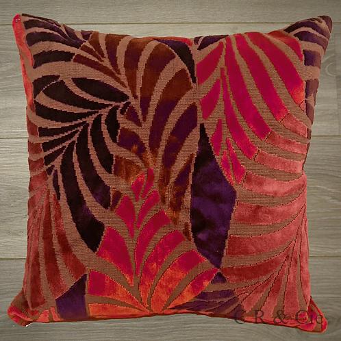 Coussin de décoration RED LEAVES en velours rouge et violet