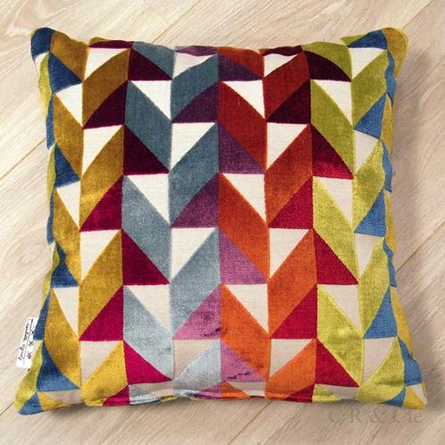 Coussin de décoration ARLEQUIN en velours de coton multicolore