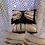 Thumbnail: Coussin de décoration VERTICELLS  brodé, fond écru, envers satin bleu n