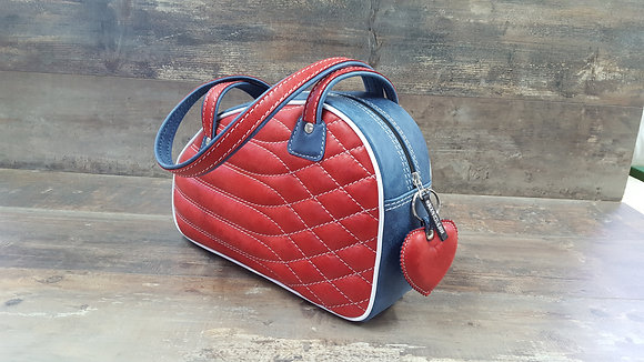 Sac SkinAss cuir rouge et bleu matelassé / red and blue quilted leather bag