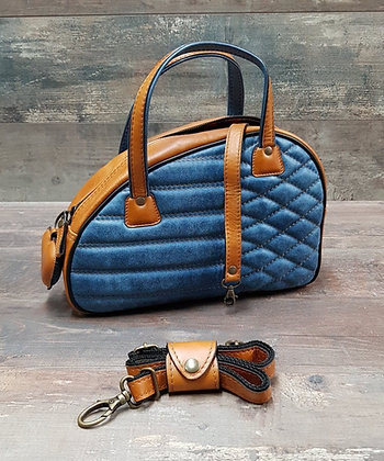 Sac SkinAss cuir vintage blue jeans caramel matelassé / blue quilted leather bag