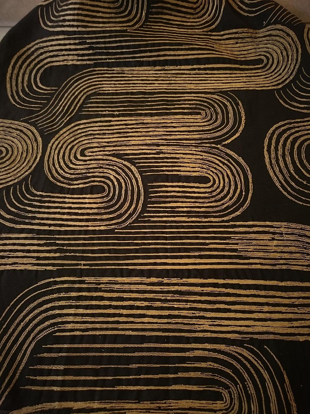 NOBILIS - Kanji - tissu pour rideaux en lin et coton brodé or