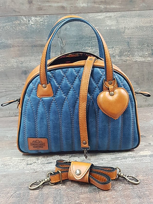 SkinAss BIG BOSS cuir blue jeans & caramel / toffee & blue jeans leather handbag