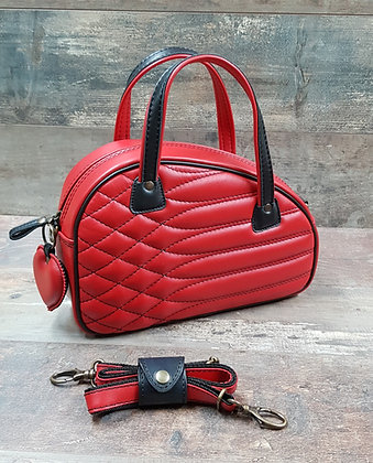 Sac SkinAss cuir rouge matelassé / red quilted leath