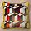 Thumbnail: Coussin de décoration ALFABETO en velours multicolore passepoilé jaune moutarde