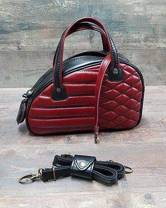 Sac SkinAss cuir noir et bordeaux matelassé / burgundy and black leather bag