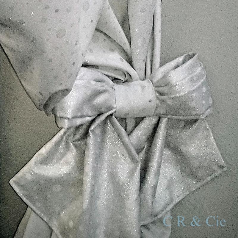 CR&Cie - tissu de Noël - Noeud lamé argenté