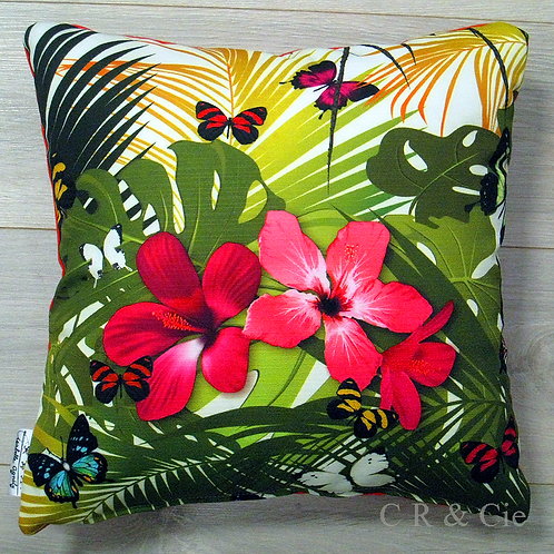 Coussin HIBISCUS ROSE outdoor