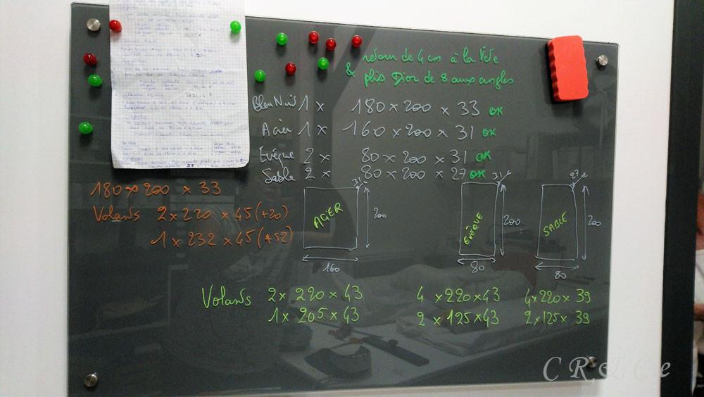 calculs de coupe sur tableau magnétique en verre
