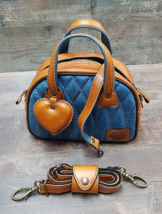 Sac SkinAss MINI MISS en cuir blue jeans & caramel / toffee & blue leather bag