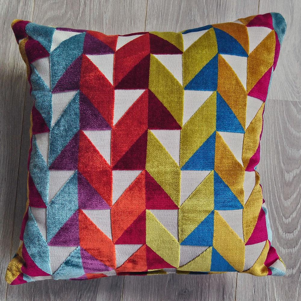 Coussin lin et velours multicolore - dimensions 45 x 45