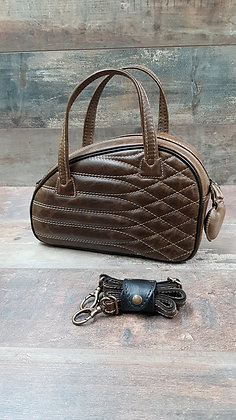Sac SkinAss cuir marron vintage matelassé / vintage brown quilted leather