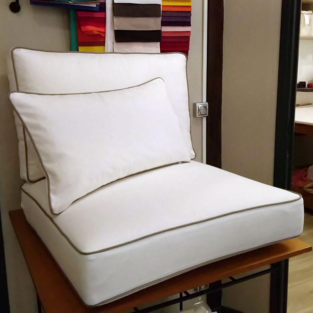 Assise, dossier et coussins déco pour la réfection d'un fauteuil