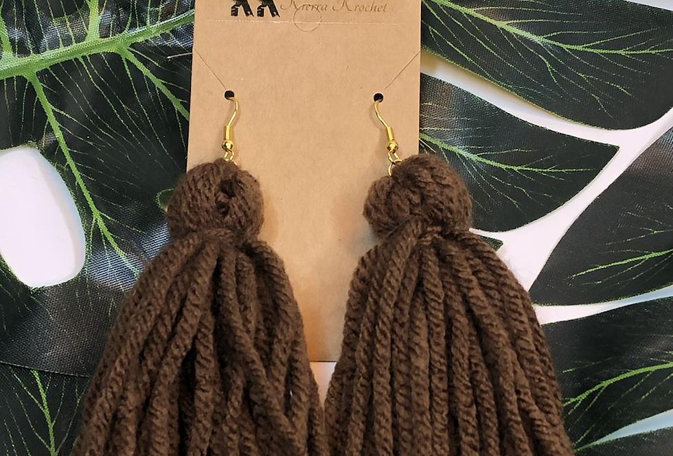 Tassel Earrings- Brown