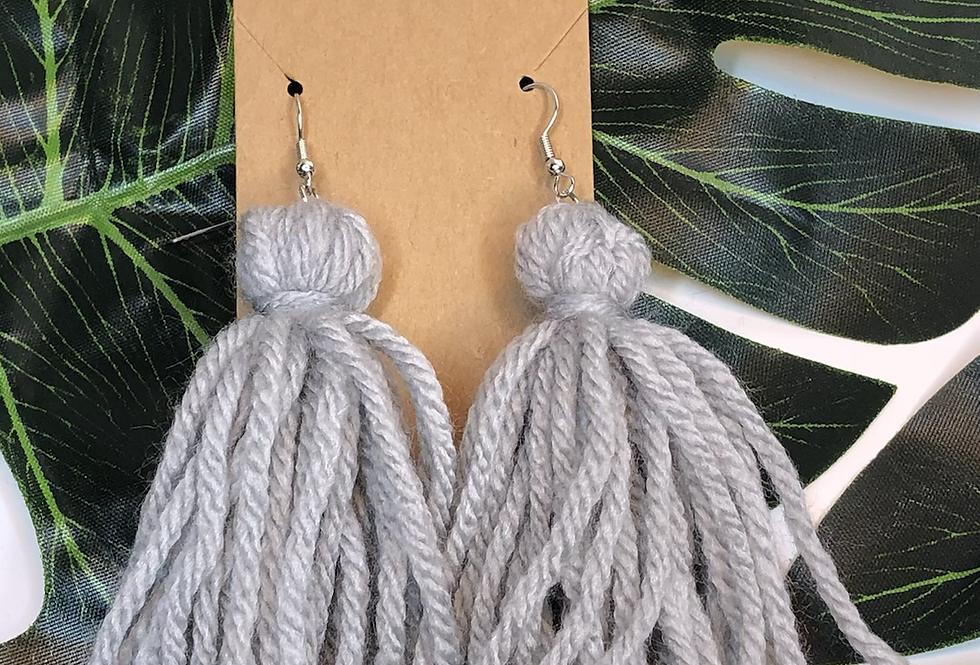 Tassel Earrings- Grey