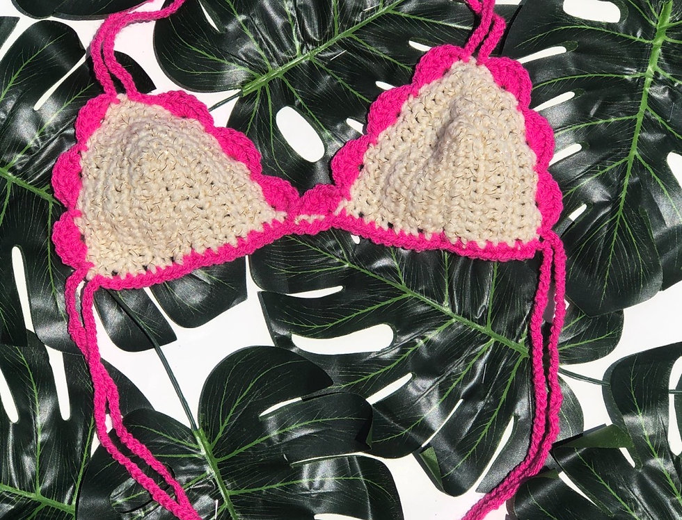 Scallop Bralette - Hot Pink