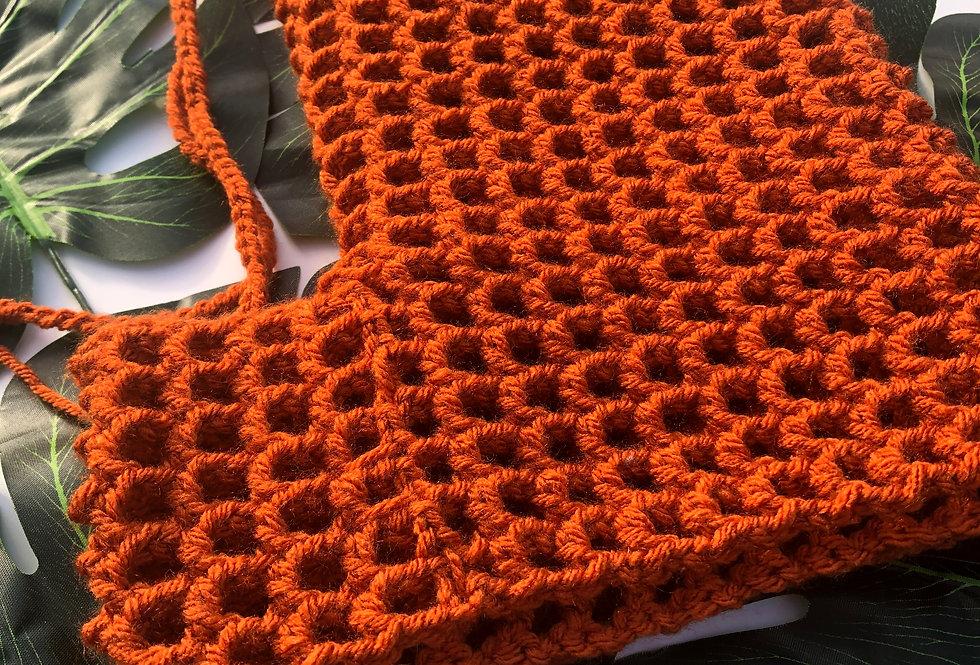 Burnt Orange Crochet Shorts