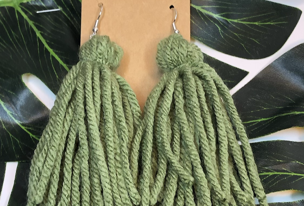 Tassel Earrings- Sage