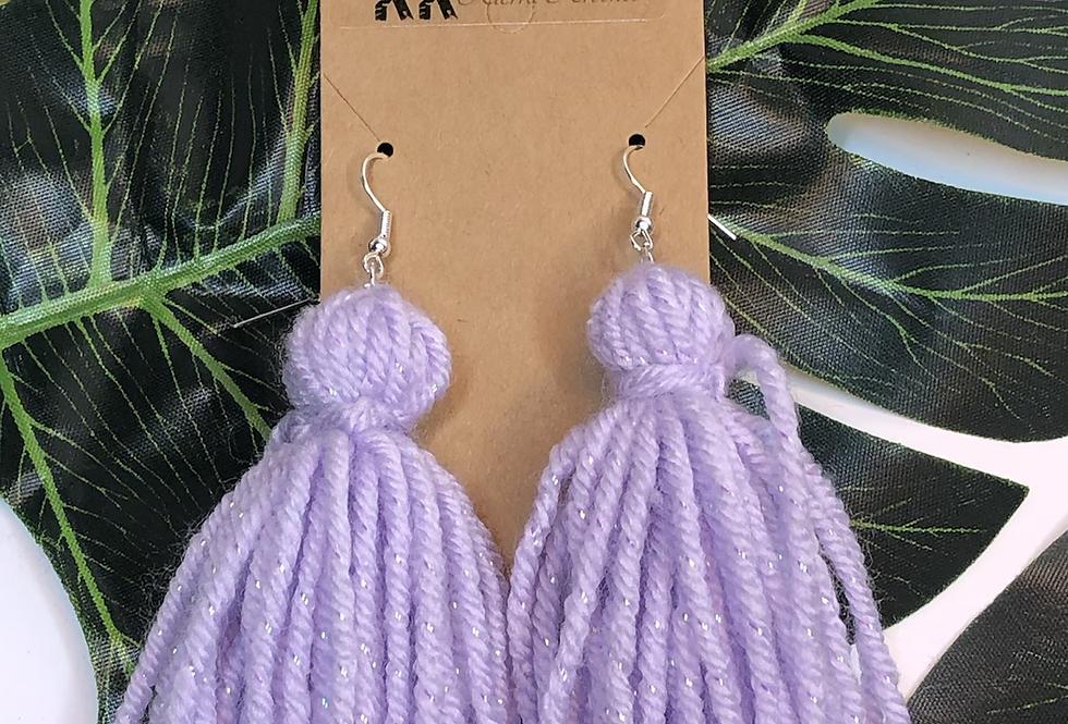 Tassel Earrings- Purple Metallic