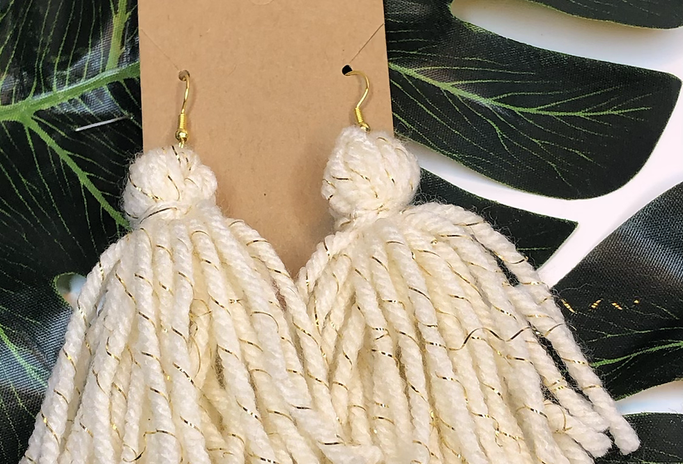 Tassel Earrings- Ivory Metallic