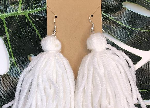 Tassel Earrings- White
