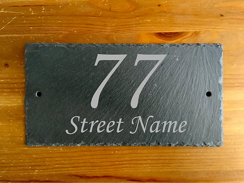 Slate House Address Plaque Sign 25cmx13cm