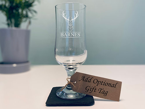 Stag Head 1/2 Pint Stemmed Beer Glass
